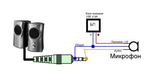 Схема подключения микрофона к