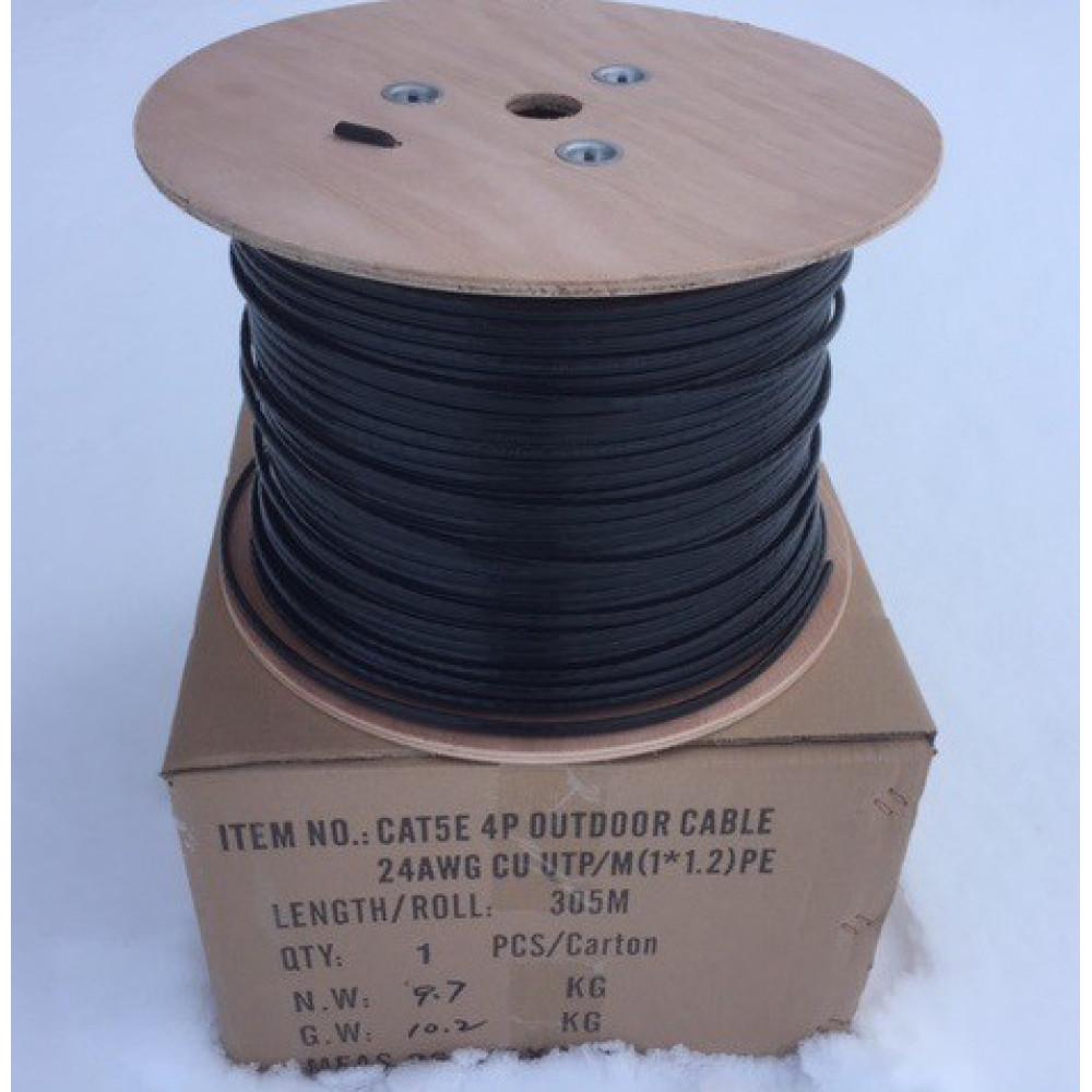 Кабель витая пара с тросом UTP 24AWG 4пары CAT5e внешний   Модель: CCA-009 (ТРОС)